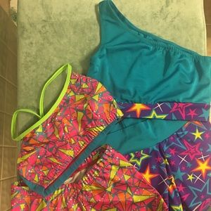 Nwot bright neon dance two piece sets